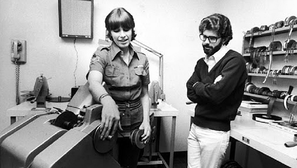 Marcia Lucas and George Lucas in the Star Wars editing room.