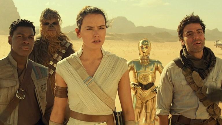 Star Wars: The Rise of Skywalker; Finn, Chewie, Rey, C-3PO and Poe Dameron.