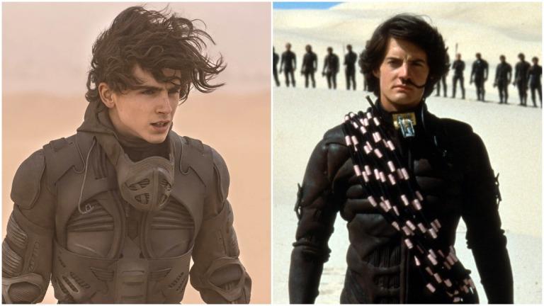Timothee Chalamet and Kyle Maclachlan as Paul Atreides in Dune