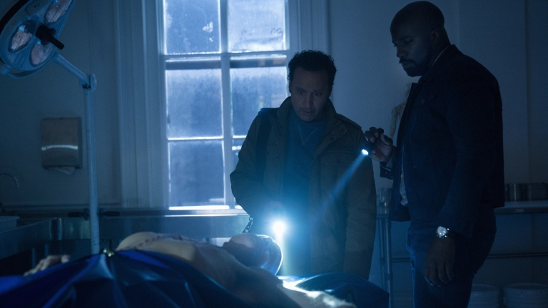 Ben (Aasif Mandvi) and David (Mike Colter) in Evil season 2 episode 13