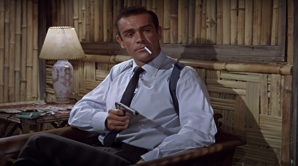 Sean Connery in Dr No with six shots