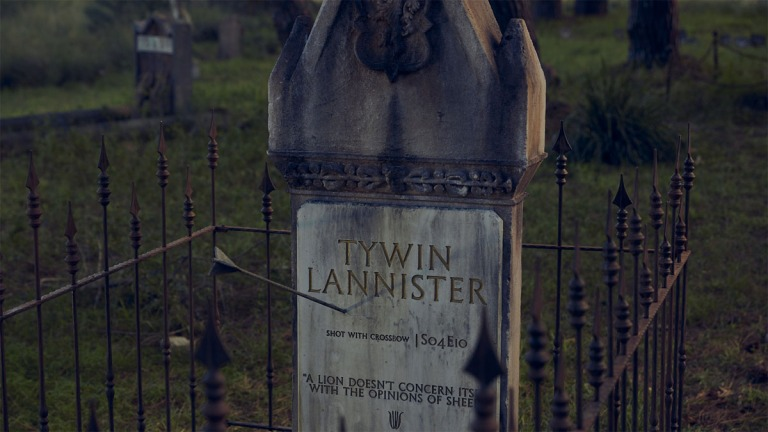 Tywin Lannister Grave of Thrones campaign copyright DDA Foxtel The Glue Society