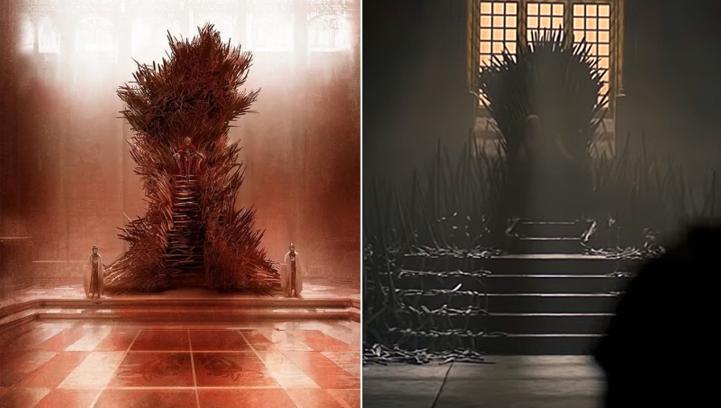 Game of Thrones' Iron Throne as presented by Marc Simonetti and on House of the Dragon.