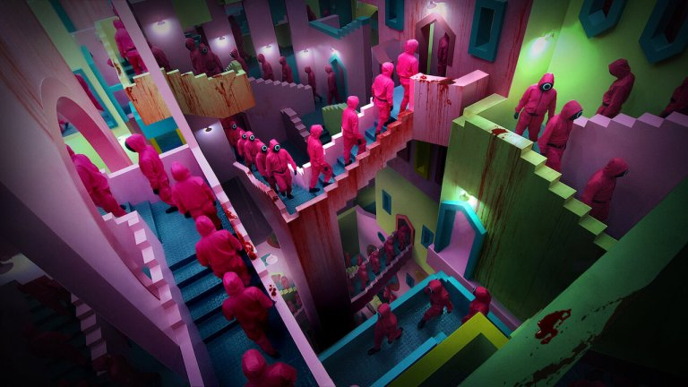 The workers go up stairs in Squid Game