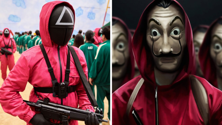 Figures in red jumpsuits in Squid Game and Money Heist