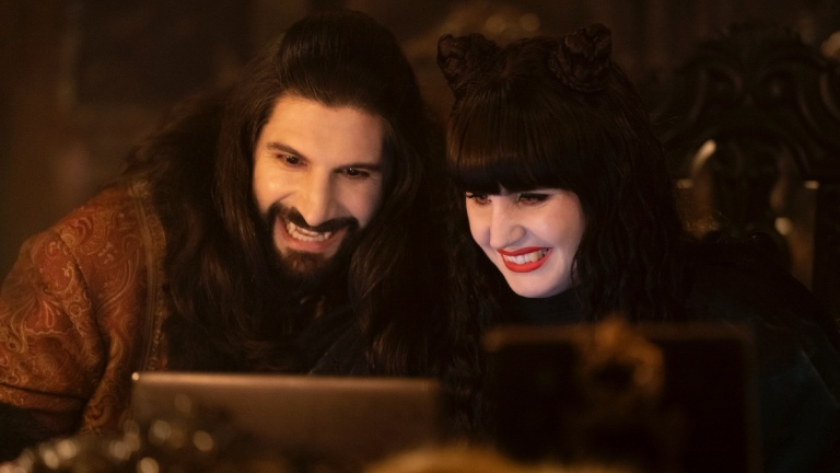 Nandor (Kayvan Novak) and Nadja (Natasia Demetriou) in What We Do in the Shadows season 3